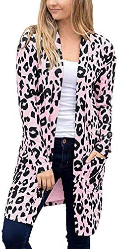 CrazyloverⓇ Women Long Sleeve Open Front Leopard Knit Long Cardigan Casual Print Knitted Maxi Sweater Coat Outwear