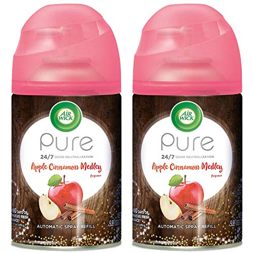 Air Wick Pure Freshmatic 2 Refills Automatic Spray, Apple Cinnamon Medley, 2ct, Air Freshener, Essential Oil, Odor Neutralization, Packaging May Vary