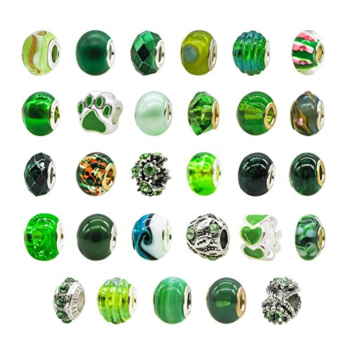 Large Hole Bead 14mm Lampwork Murano Beads Metal Glass Beads Multi Color Fit European Bead Charm Bracelet Wholesale 20pcs (Multi Color Lampwork Glass)