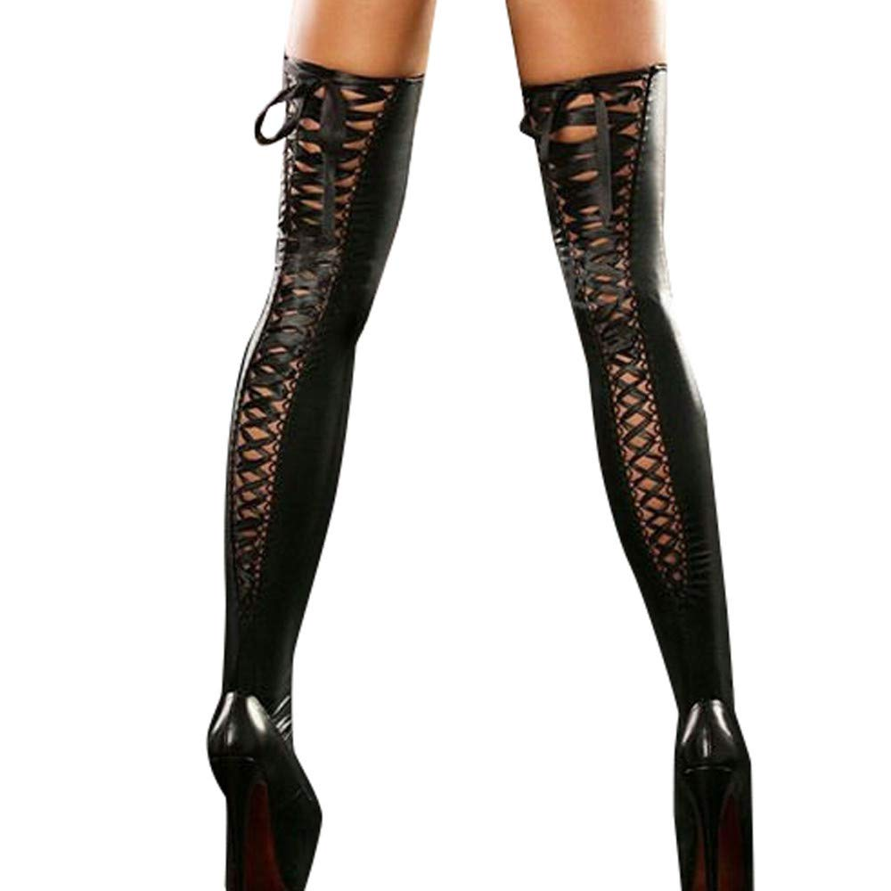 SMALLE ◕‿◕ Sexy Knee High Stockings, Women's Lingerie Stretch Pu Leather Sexy Leather Lace Bow Stockings Ultra-Wide Black