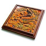 3dRose trv_257107_1 Dragon Trivet with Tile, 8 by 8''
