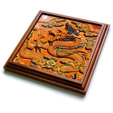 Asian Dragon Tile - 3dRose trv_257107_1 Dragon Trivet with Tile, 8 by 8