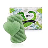 Green Tea Cleansing Effect - Flend Konjac Sponges All Natural Facial Body Sponge Set for Sensitive Skin, 2 Pack, Green Tea Face Cleansing Exfoliation (1Body+1 Facial)