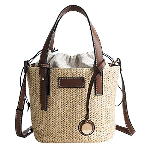 - Bucket Straw Beach Bag Vintage Handmade Woven Shoulder Bag Raffia Rattan Bohemian Summer Vacation Casual Bag