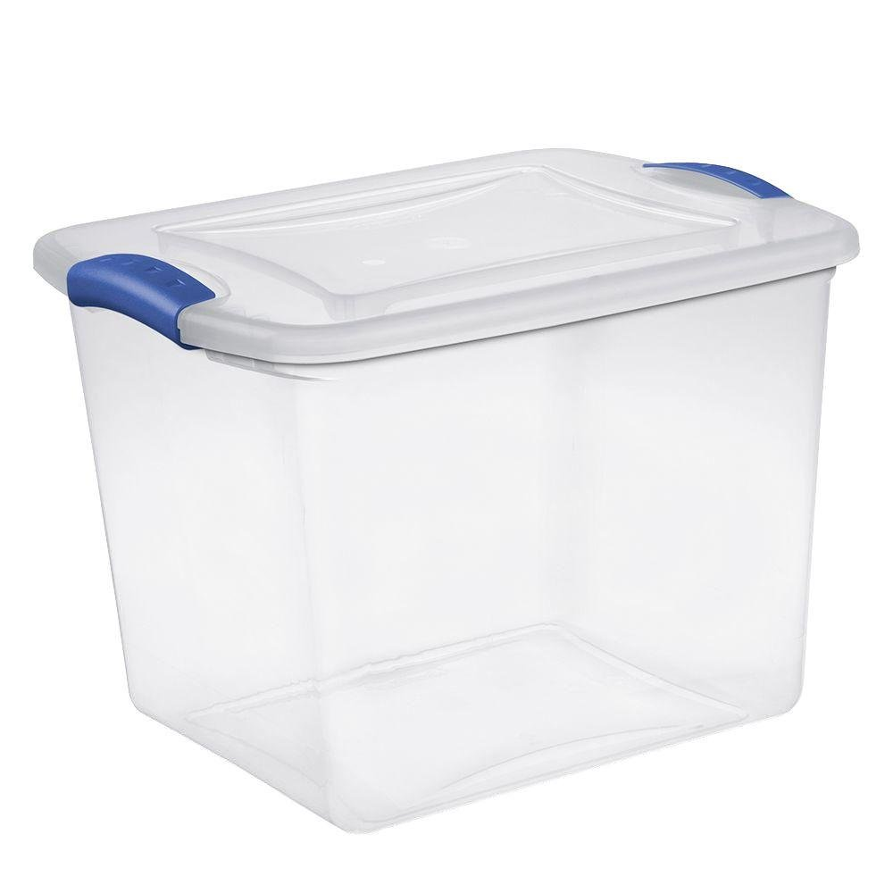 Sterilite 27 Quart See Through Storage Box- Stadium with Latching Lid and Blue Handle, Case of 10