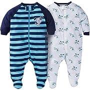 Gerber Baby Boys 2 Pack Zip Front Sleep n Play (0-3 Months, Blue Dogs)