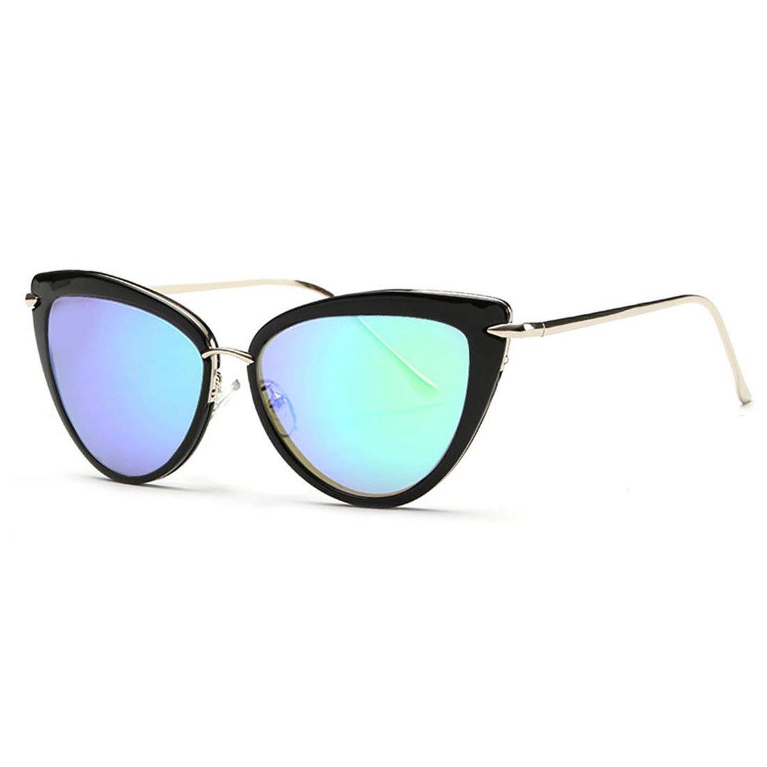 AEVOGUE Sunglasses For Women Cat Eye Frame Metal Temple Brand Designer AE0269 (Silver&Green, 57)