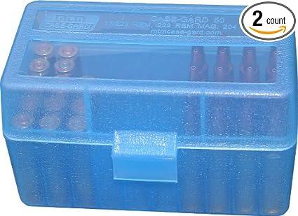 Amazon com : MTM Plastic Ammo Box, Clear Blue 50 Round 223