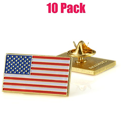 Exquisite American Flag Lapel Pin -The Stars Stripes -Solid Metal Flag Lapel Pin-Gold Tone (10 Pack Rectangle)