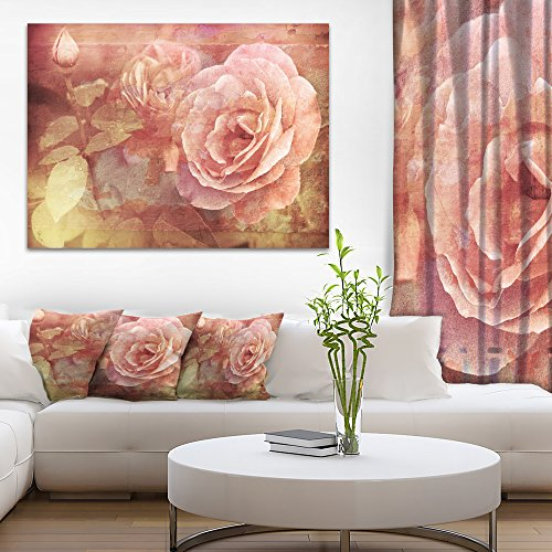 Pink Roses in Vintage Style Floral Art Canvas Print by Design Art