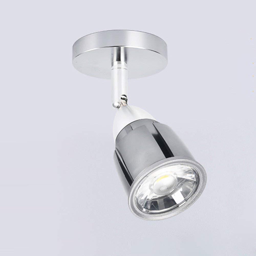KSDGQ Modern Runde Deckenspot Deckenstrahler LED Schwenkbar Spotleuchte Einfach Aluminium Deckenlampe Weiß Licht Schlafzimmerleuchte Einstellbar Silber 210 Lumen 3W 6000K Ø50 H70mm
