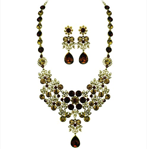 OMYGOD cristal collier plastron et boucles d'oreille-Topaze