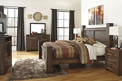 Quindenny Casual Replicated Oak Grain Dark Brown Color Bed Room Set, Queen Bed, Dresser And Mirror, Two Nightstands, Media Chest w/Fireplace (Dark Oak Mirror)