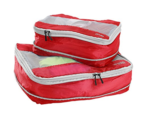 Lewis N Clark Electrolight Expandable Packing Cube + Travel Organizer for Luggage, Suitcase or Carry On with Smart Design Grab Handle & Breathable Mesh, 2 Pack (1 Med, 1 Large), ()