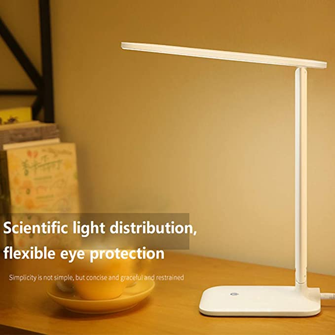 SaleOn™ Rechargeable LED Touch On/Off Switch Desk Table Lamp Children Eye Protection Office Desk Light Folding Desk Lamp USB Charging Touch Dimmer(White)-867