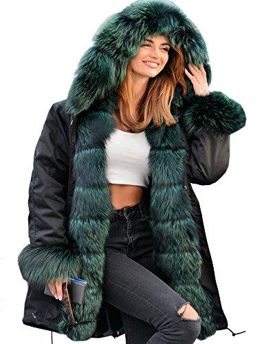 Roiii Women Thicken Warm Winter Coat Faux Fur Hood Parka Overcoat Long Jacket Outwear (Small, Black Shade)