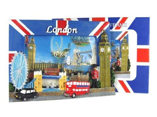 Photo Frame - London Souvenir Union Jack Painted Picture Frame Detailing London Landmarks - 1235 by Photo - London Frames