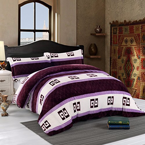 Simple&Opulence Flannel Duvet Cover Set Super Soft Classical Geometry Purple(Queen) (Flannel Comforter Cover)