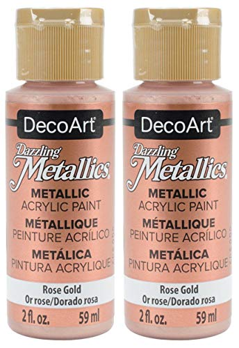 2-Pack - DecoArt Dazzling Metallics Acrylic Colors - Rose Gold, 2-Ounces Each