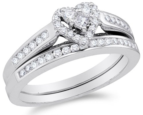 Size 8.5-10K White Gold Diamond Ladies Bridal Engagement Ring with Matching Wedding Band Two 2 Ring Set - Halo Heart Shape Center Setting w/Channel Set Princess Cut & Round Diamonds (Princess Cut Diamond Shape Ring)
