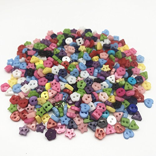 Mixed 6mm Mini Tiny Buttons Heart Flower Star Resin Round Sewing Doll Clothes Button Embellishments Scrapbook Cardmaking Pack of 1000 ()