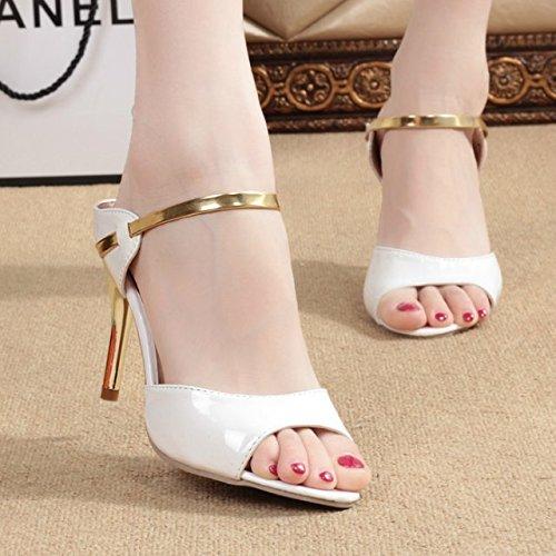 SHOESHAOGE Bouche Sandales D'Or Fine Poisson Des Femme Avec Heeled Sandales High grgnqxfRB