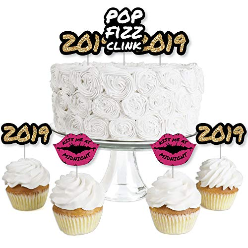 Pop, Fizz, Clink! - Dessert Cupcake Toppers - New Years Eve 2019 Party Clear Treat Picks - Set of 24