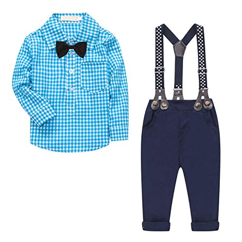 Baby Boy's 2 Pieces Tuxedo Outfit, Long Sleeves Plaids Button Down Dress Shirt with Bow Tie + Suspender Pants Set for Infant Newborn Toddlers, Blue, for 0-6 Months = Tag Size 60