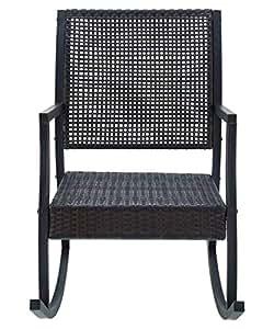 Al aire libre mecedora fabricado w/de polietileno, ratán y hierro en negro y madera de caoba marrón 24W x D x 45h en.