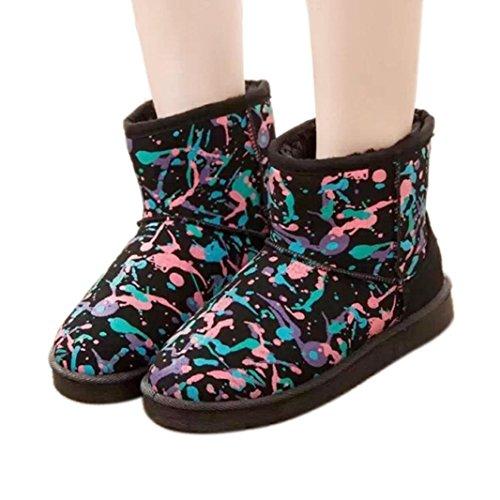 Amiley Mujeres Graffiti Slippers Botas Al Aire Libre Indoor Warm Tobillo Botines De Nieve Negro
