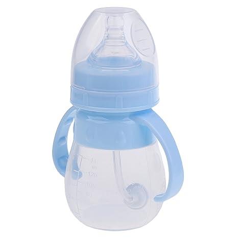 Gazechimp Botella de Leche de Silicona Accesorios para Bebés Niños Cómodo Biberón - Azul, 140ML