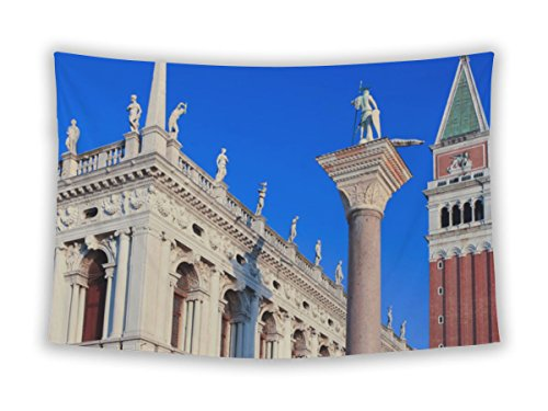 Cog-wheel New Wall Tapestry For Bedroom Hanging Art Decor College Dorm Bohemian, Piazzsan Marco San Marco Zeccof Venice And St Marks Campanile, 104x88
