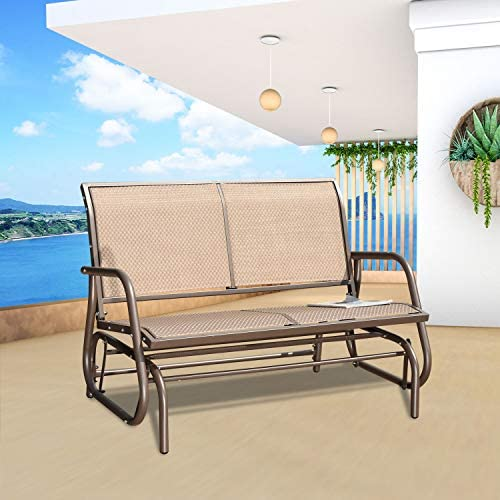 GOLDSUN Swing Glider Chair Patio Swing Bench for 2 Person, Outdoor & Indoor Lawn Steel Rocking Garden Loveseat for Outside,Patio, Backyard, Poolside(Coffee)