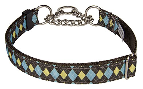 Country Brook Design | Country Club Argyle Grosgrain Ribbon Half Check Dog Collar Limited Edition - Small (Ribbon Argyle Grosgrain)