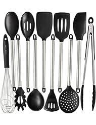 Silicone Cooking Utensils Kitchen Utensil Set   11 Stainless Steel Silicone  Kitchen Utensils Set   Silicone Utensil Set Spatula Set   Silicone Utensils  ...
