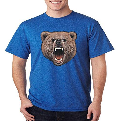 Wild Life T Shirt Bear Bite Mens Tee S-5XL (Heather Royal, 4XL) (Bear Bite Shirt)