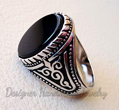 (Natural black onyx agate aqeeq stone arabic turkish ottoman style man ring all sizes sterling silver 925 oval shape gemstone antique jewelry)