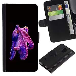 KLONGSHOP / Tirón de la caja Cartera de cuero con ranuras para tarjetas - Kraken Monster Diving - Samsung Galaxy S5 V SM-G900
