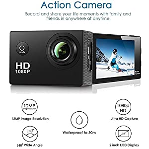 Action Camera ,Amuoc EK3000 Waterproof 30m Sport Camera Full HD 1080P 2.0 Inch LCD Display 120 Degree Wide Angle Lens Sport Recorder Car Camera with Outdoor Accessories