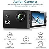 TUPIPA 1080P Action Camera 14MP WiFi Waterproof Sports Camera 140 Degree Wide Angle Lens, 30m Underwater DV Camcorder (Black)