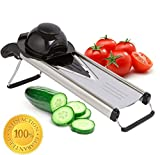 Zcutt V-blade Mandoline Slicer--Stainless Steel Design with 5 Interchangeable Blade Inserts for Slicing Rounds, French Fries, Juilienne Sticks and More. Includes Safrety Grip.