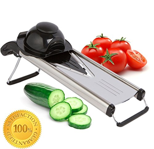 Zcutt-V-blade-Mandoline-Slicer-Stainless-Steel-Design-with-5-Interchangeable-Blade-Inserts-for-Slicing-Rounds-French-Fries-Juilienne-Sticks-and-More-Includes-Safrety-Grip