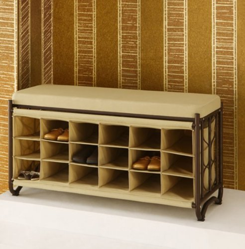 Organize It All Bench with Shoe Cubbies, Oil Rubbed Bronze (Shoe Bench With Cushion compare prices)