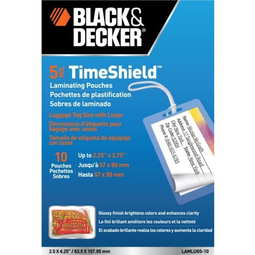 BLACK + DECKER TimeShield  Thermal Laminating Pouches, Luggage Tag with Loops, 5 mil - 10 Pack (LAMLUG5-10) ()