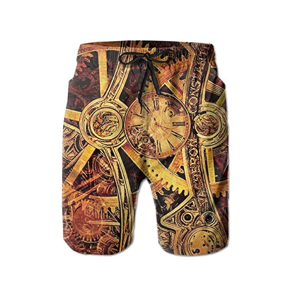 Boys Board Shorts Cool Steampunk Gears Quick Dry Swim Surf Trunks 3