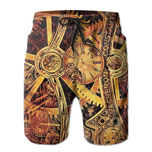 Boys Board Shorts Cool Steampunk Gears Quick Dry Swim Surf Trunks