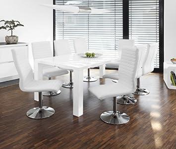 Designer Essgruppe salesfever essgruppe tisch 200x100cm weiß mit 8 stühlen lio aus