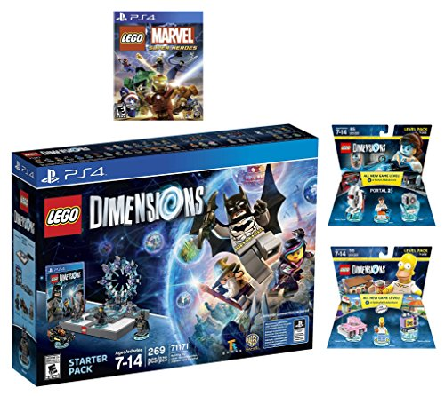 Lego Dimensions Starter Pack + Marvel Super Heroes + Portal 2 Level Pack + The Simpsons Homer Level Pack for PS4 Playstation 4 Console