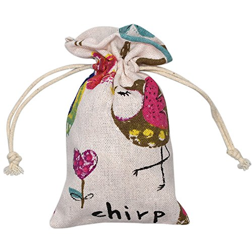 MoMaek Pack of 20pcs Cute pattern Double Drawstring Cotton Linen Jute Cloth Sack Muslin Bags Jewelry Pouch Reusable Bags Tea Bags Souvenir Gift Bag (4