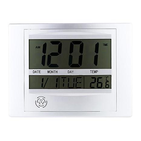 Relojes Meteorológicos Termómetro Medidor Electrónico Despertador Digital de Temperatura Calendario en Pared Digital